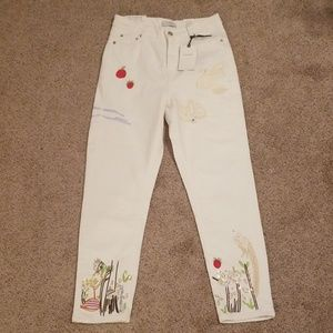 Zara Woman Vintage Embroidered Jeans 2
